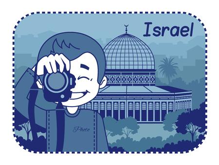 jeruzalem: Illustratie met Heilig Grafkerk in Jeruzalem Vector illustratie Stock Illustratie
