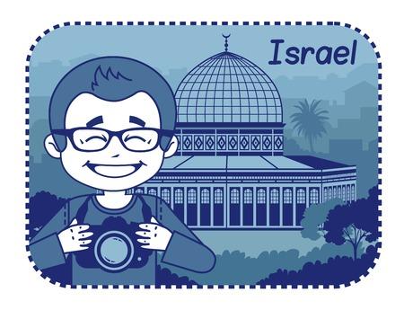 Illustration with Holy Sepulcher in Jerusalem  Vector illustration Illustration