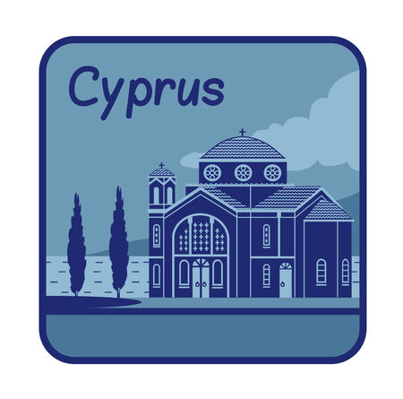 byzantine: Vector illustration with Agios Georgios church in Paphos Cyprus