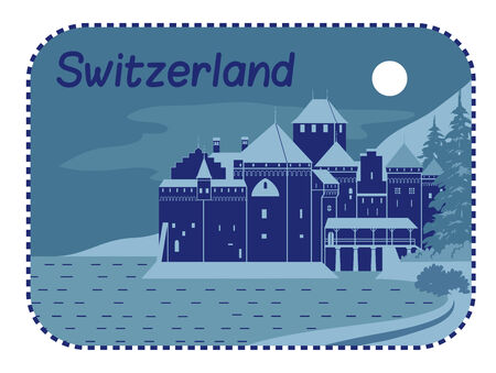 Vector illustration with Medieval Chillon Castle in Switzerland Illustration