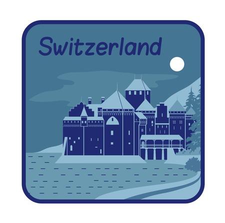 Vector illustration avec le château médiéval de Chillon en Suisse Banque d'images - 30135073