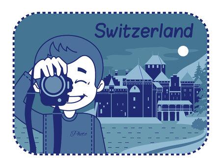 chillon: Vector illustration with Medieval Chillon Castle in Switzerland Illustration