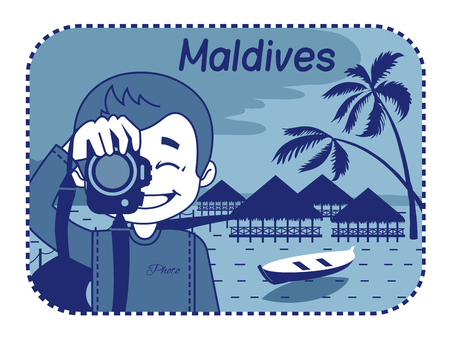 maldives island: Illustration with wood bungalows in Maldives  Vector illustration
