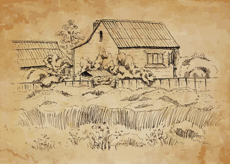 Rural landscape with old farmhouse  Hand drawing illustration Vector