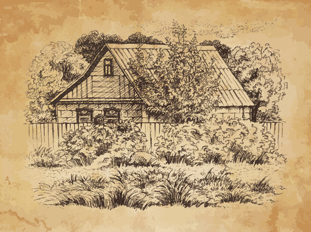 Rural landscape with old farmhouse  Hand drawing illustration