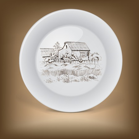 Decorative plate with image of farmhouse  Hand drawing illustration Illustration
