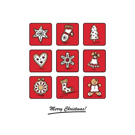 Greeting card with Christmas gingerbreads Vector