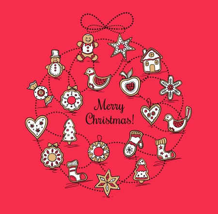 Red greeting card with Christmas wreath Vector