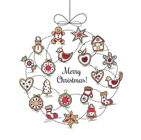 White greeting card with Christmas wreath Vector