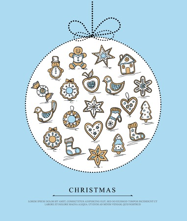 Blue greeting card with Christmas gingerbreads