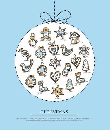 Blauwe wenskaart met Kerstmis peperkoek Stockfoto - 33483518