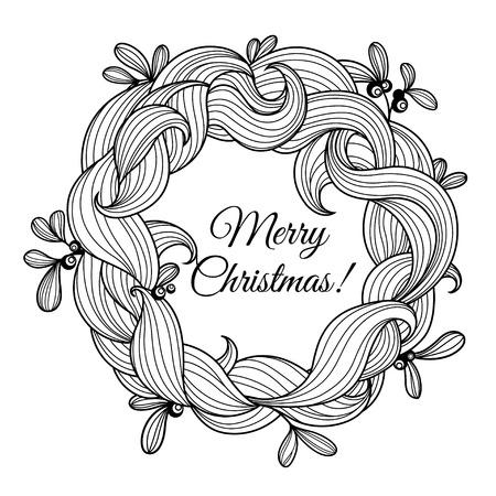 Templte Greeting Card With Christmas Wreath Of Mistletoe Vector