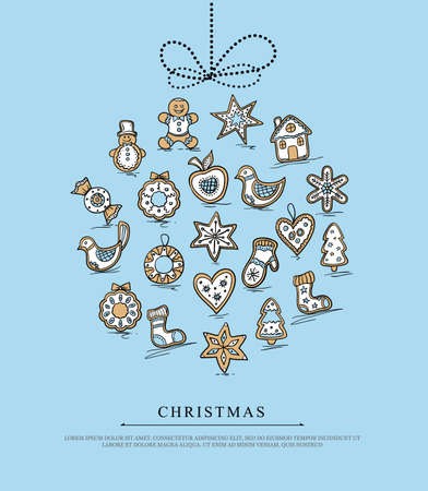 Christmas card with ball of Christmas gingerbreads . Vector illustration. Vector