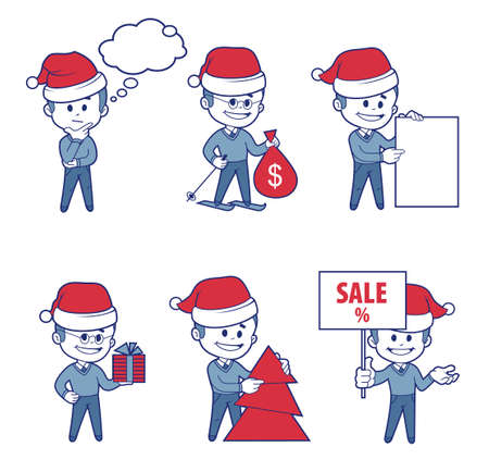 Business  Characters boys for holiday sale banner. Vector