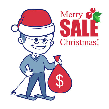 Promotional banner with Santa Claus on skis and bag of money Vector