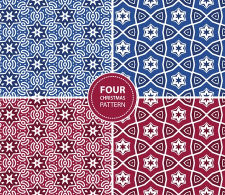 Set of four Christmas seamless patterns Vector
