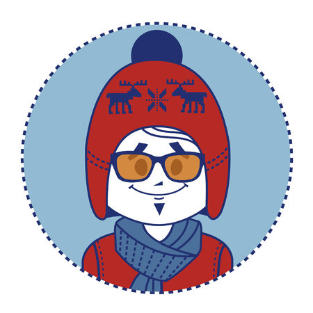 stylish man: Stylish man dressed in red knitted hat with Scandinavian ornament. Illustration
