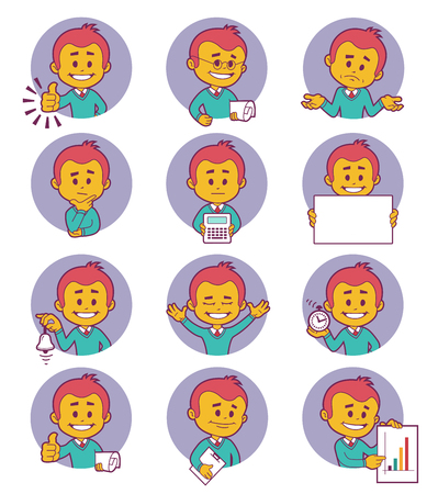 career coach: Flat people icons with business characters.