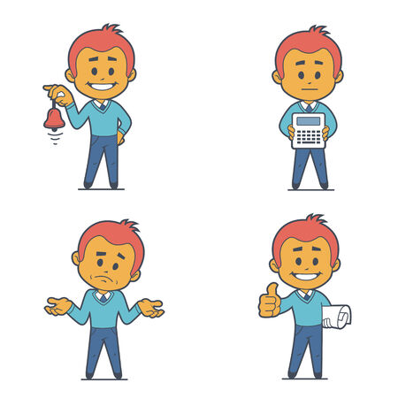 economist: Set of four flat character businessmans. Illustration