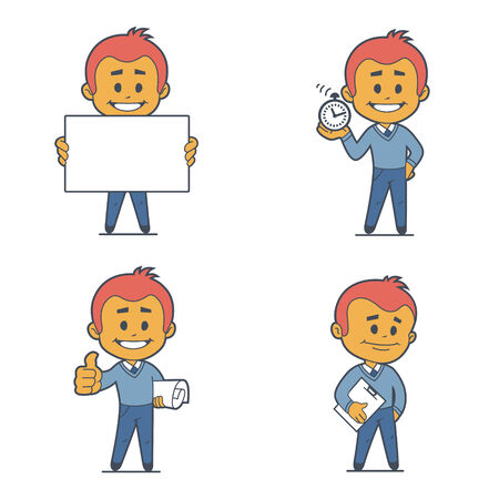 Set of four flat character businessmans. Vector