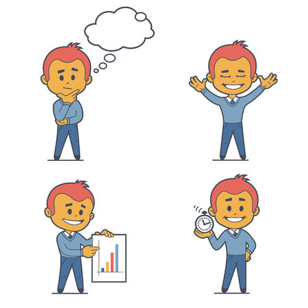 flat character: Set of four flat character businessmans. Illustration
