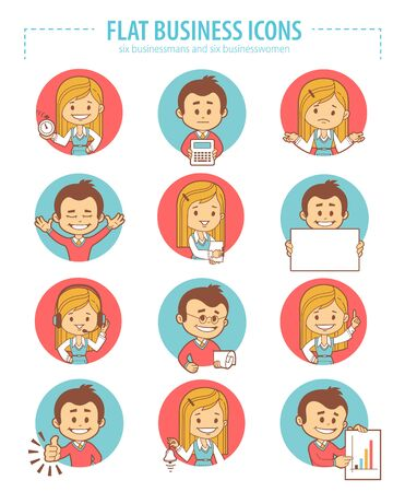 businesswomen: Set of flat business icons with businessmans and businesswomen