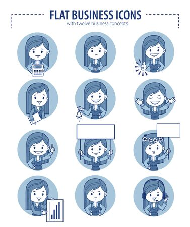 businesswomen: Set of flat business icons with businesswomen