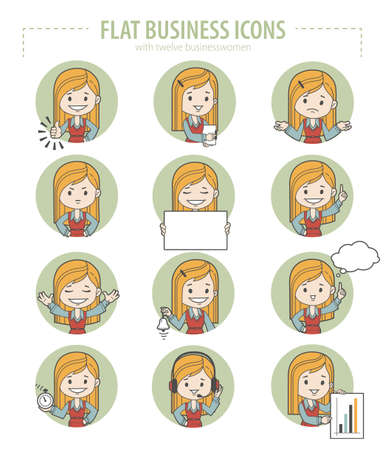 career coach: Set of flat business icons with businesswomen