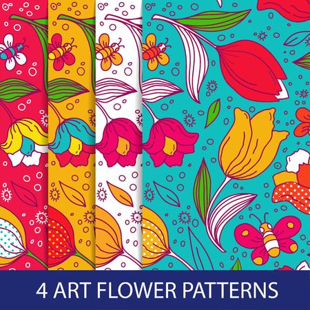 flower patterns: Set of flower patterns with tulips. Stock Illustratie