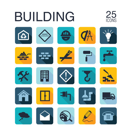 under construction sign: Flat building icons Illustration