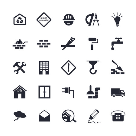 dyeing: Flat building icons Illustration