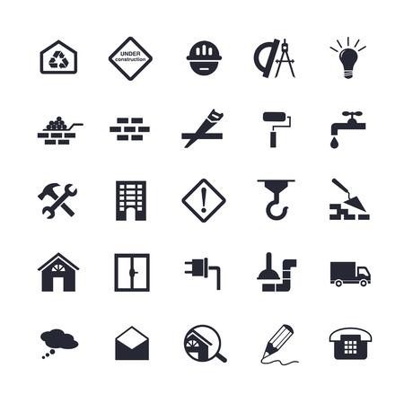 Flat gebouw pictogrammen Stock Illustratie