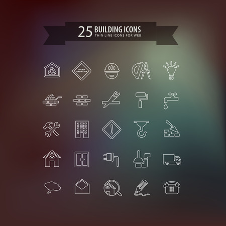 thin bulb: Think line building icons. Illustration