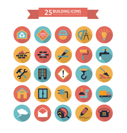 Flat building icons 向量圖像