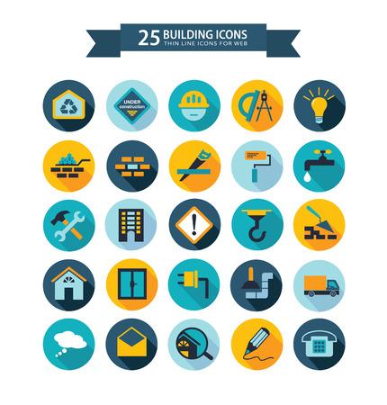 Flat building icons  イラスト・ベクター素材