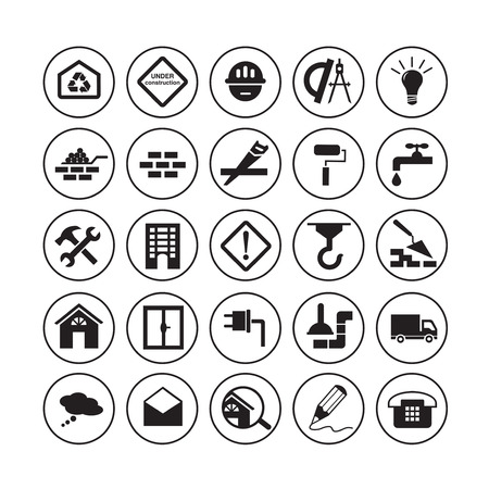 Flat gebouw pictogrammen Stockfoto - 38066490
