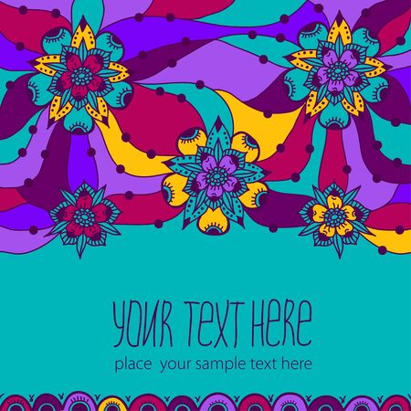 stranded: Colorful greeting card with flowers. Illustration