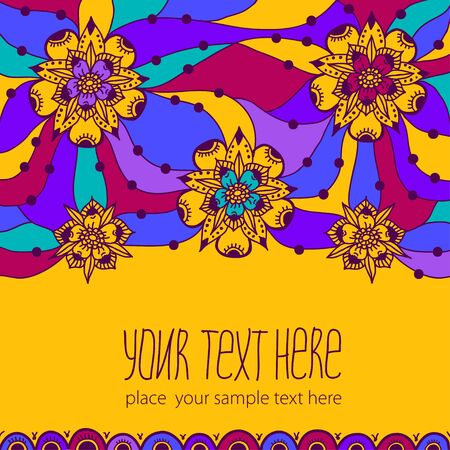 Colorful greeting card with flowers. Illustration