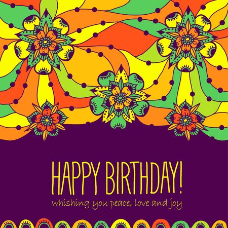 stranded: Colorful greeting card Happy Birthday