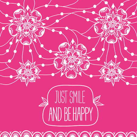 Greeting card Just smile and be happy Illustration