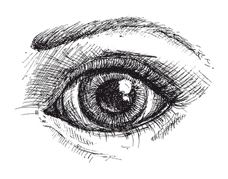 Black and white drawing of eye Illustration