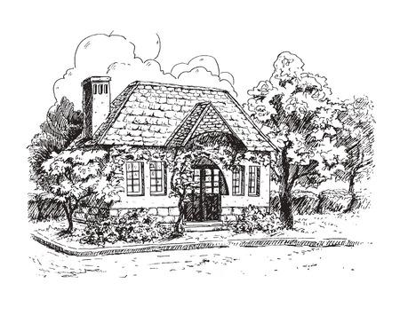 Paisaje rural con la antigua casa de labranza. Ilustración de vector