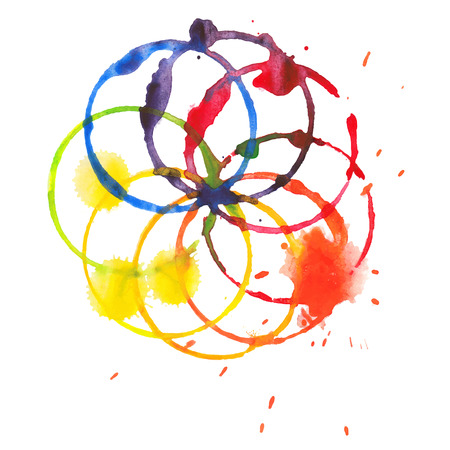 Decorative color circle splash watercolor and stamps