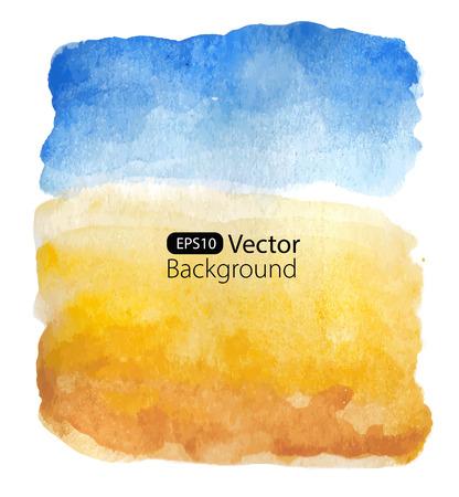 paisaje: Paisaje de verano soleado. Vector de fondo. Ilustración de la acuarela