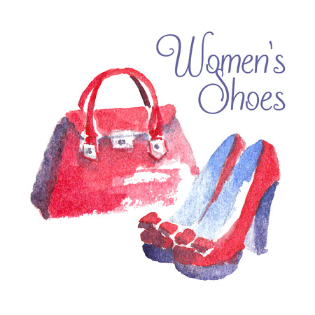 Banner with modern womens shoes and bag. Banner Womens shoes. Watercolor vector illustration Illustration