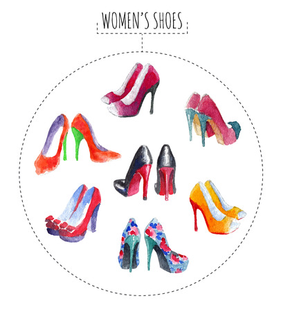 womens fashion: Seven pairs of womens shoes. Watercolor vector illustration