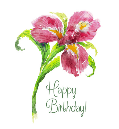 Greeting card Happy Birthday with red iris flower. Watercolor floral illustration.