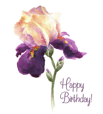 Greeting card Happy Birthday with iris flower. Watercolor vector illustration.