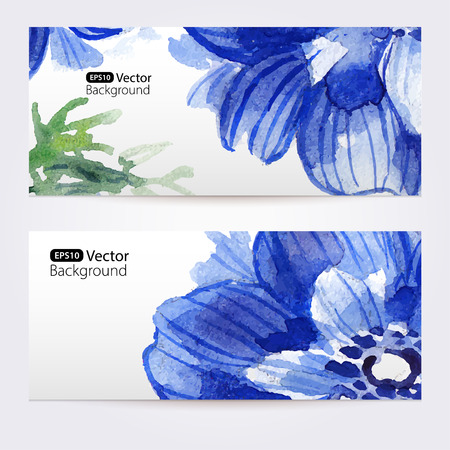 anemones: Two floral watercolor banners with anemones. The vector templates  you can use for visit cards, labels or banners. Illustration