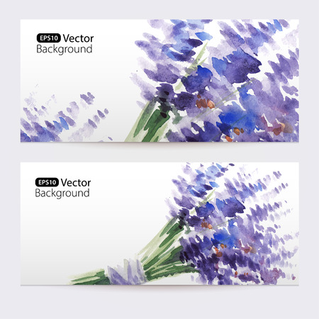 Two floral watercolor banners with bouquet of lavender.  The vector templates  you can use for visit cards, labels or banners.